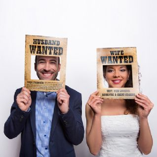 Photo Booth Props - Κάρτες για το photobooth:  Husband Wanted / Wife Wanted